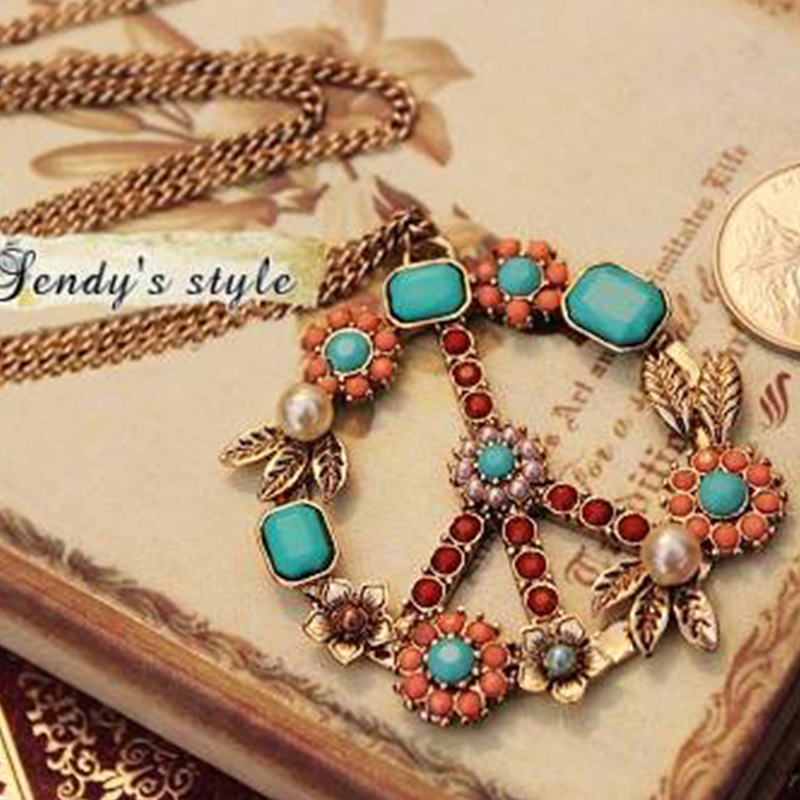 Blue Round Stone Brown Brown Simulated Pearl Beads Flower Leaf Peace Anti-war Pendant Vintage Bronze Necklace Women
