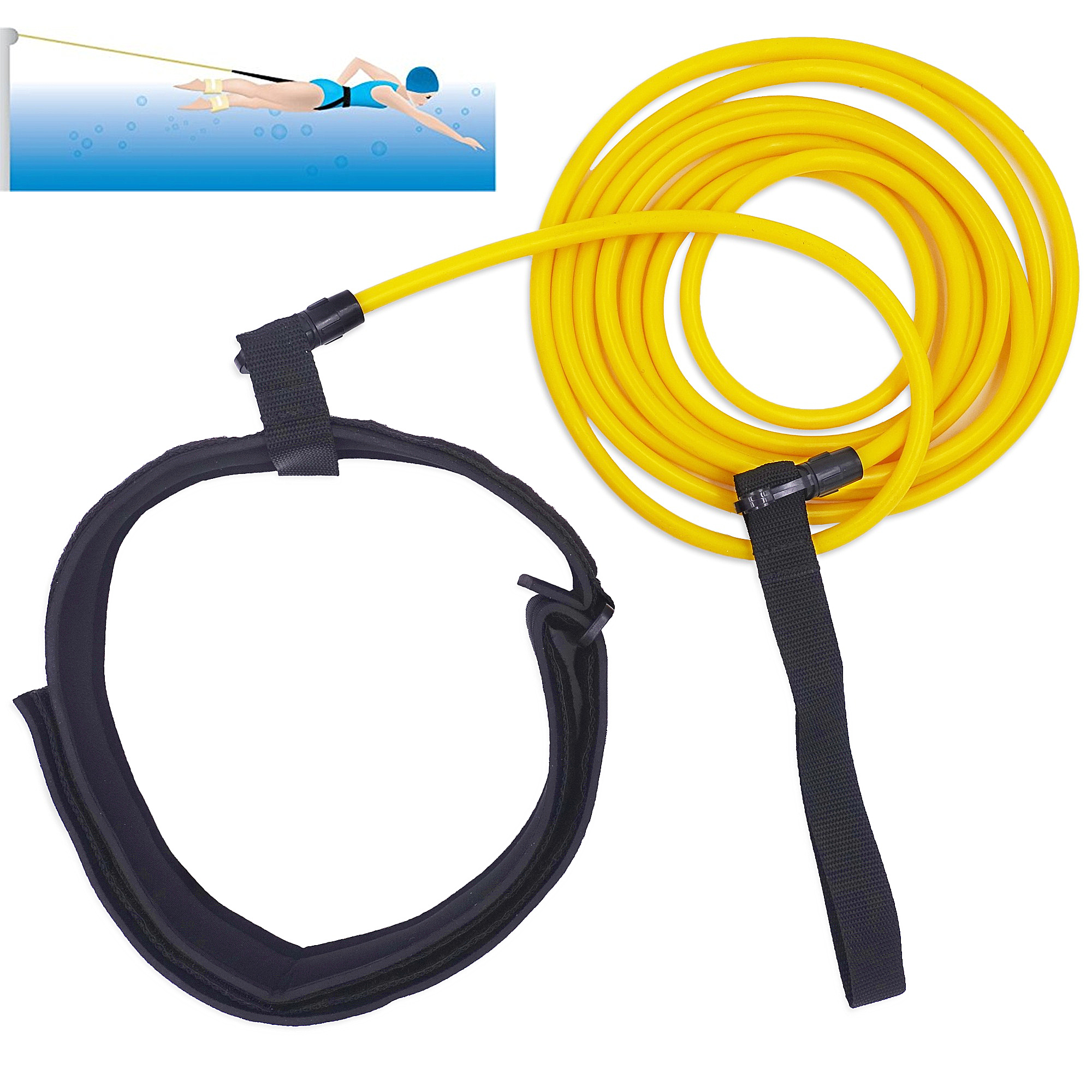 4m Swim Training Resistance Band With Adjustable Neoprene Belt Elastic Latex Bungee Cords Tether For Adult Kids Pool Swimming