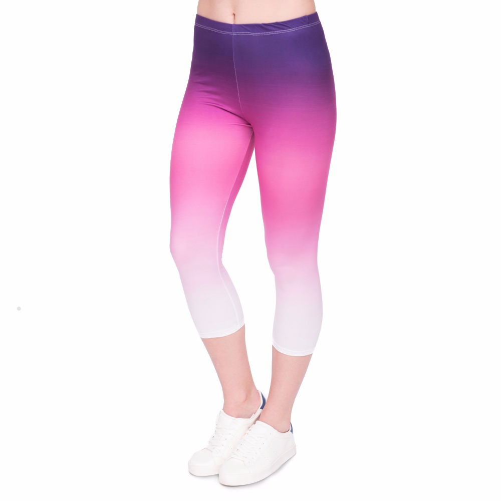 Summer New Design Women Capri   Leggings   Gradient Color Printing Sexy Mid-Calf 3/4 Trousers Movement Leggins Capri Pants