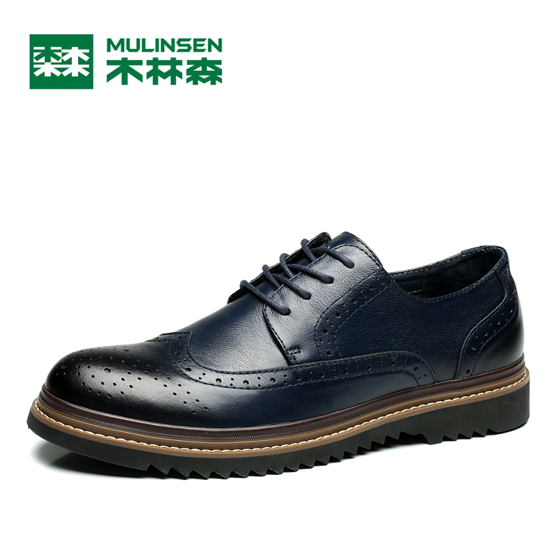 MULINSEN 100% Genuine Leather Upper Rubber Sole Men's Leisure Shoes Fashion Carving Decorated Spring Autumn Casual Shoes 260088 whensinger 2017 new women fashion boots genuine leather fashion shoes rubber sole hands sewing 2 color 7126