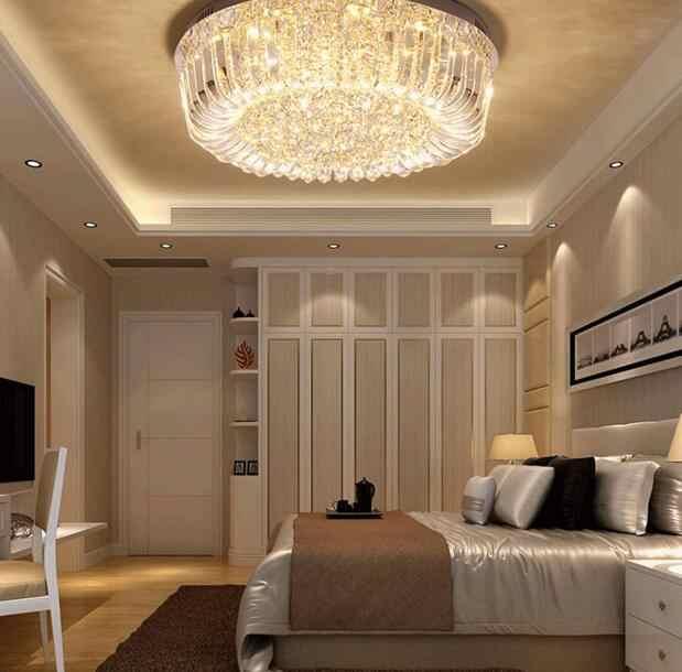 Светодиодный потолочный светильник, Простой Современный хрустальный светильник, гостиная, круглая атмосферная лампа, теплая спальня, потолочный светодиодный крустальная Светодиодная лампа
