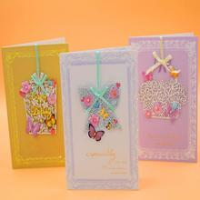 10pcs /lot Creative Lace Engraving Mini Greeting Card Children Birthday Christening Blessing with Envelope