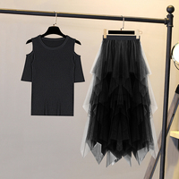 ice silk knit fashion suit off shoulder summer women shirt + mesh lace pleated skirt two piece