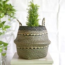hot deal buy whism flower pots decorative pastoral plant pot garden home office decor household seagrass flower baskets planters flowerpot