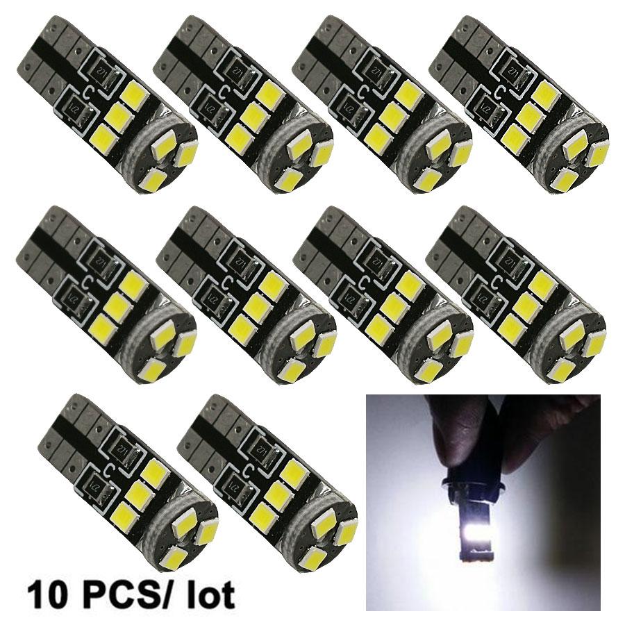 10PCS Car LED Light Source 9 SMD 2835 LED PCB CANBUS T10 W5W 147 Wedge Door Instrument Side Lamp DC 12V White bulbs New t10 3528 3w white light 21 led car signal light bulbs 2 pack dc 12v