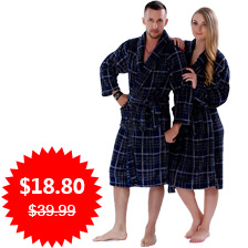 New Couples Coral Fleece Bath Robe Navy Plaid Nightgown Sleepwear Plus Size Bathrobe Dressing Gown For Men Women