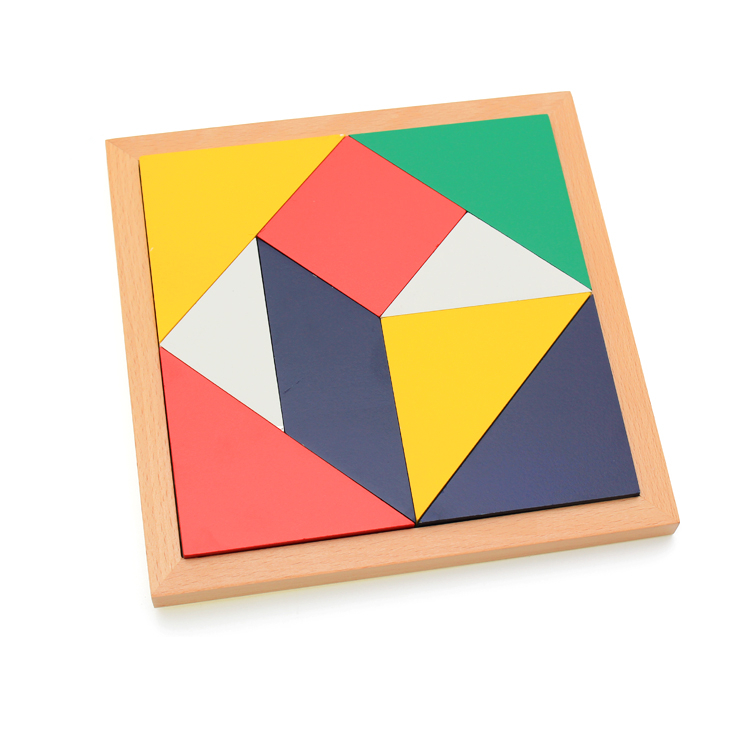 Montessori Teaching Materials Children Mental Development Tangram Wooden Jigsaw Puzzle Educational Toys for Kids 2016 new toy children mental development tangram wooden jigsaw puzzle educational toys birthday gifts for children