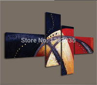 Hand Painted 4 Piece Abstract Art Line Oil Painting Sets Modern Canvas Wall Picture Decoration For Living Room