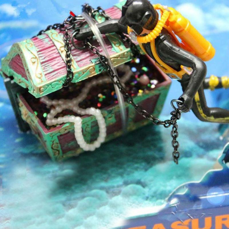 Thesari më i ri i Aquarium Ornament Treasure Hunter Thesari Figura - Produkte për kafshet shtëpiake - Foto 3
