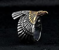 Retro ornaments gold fly eagle ring titanium steel men and women ring