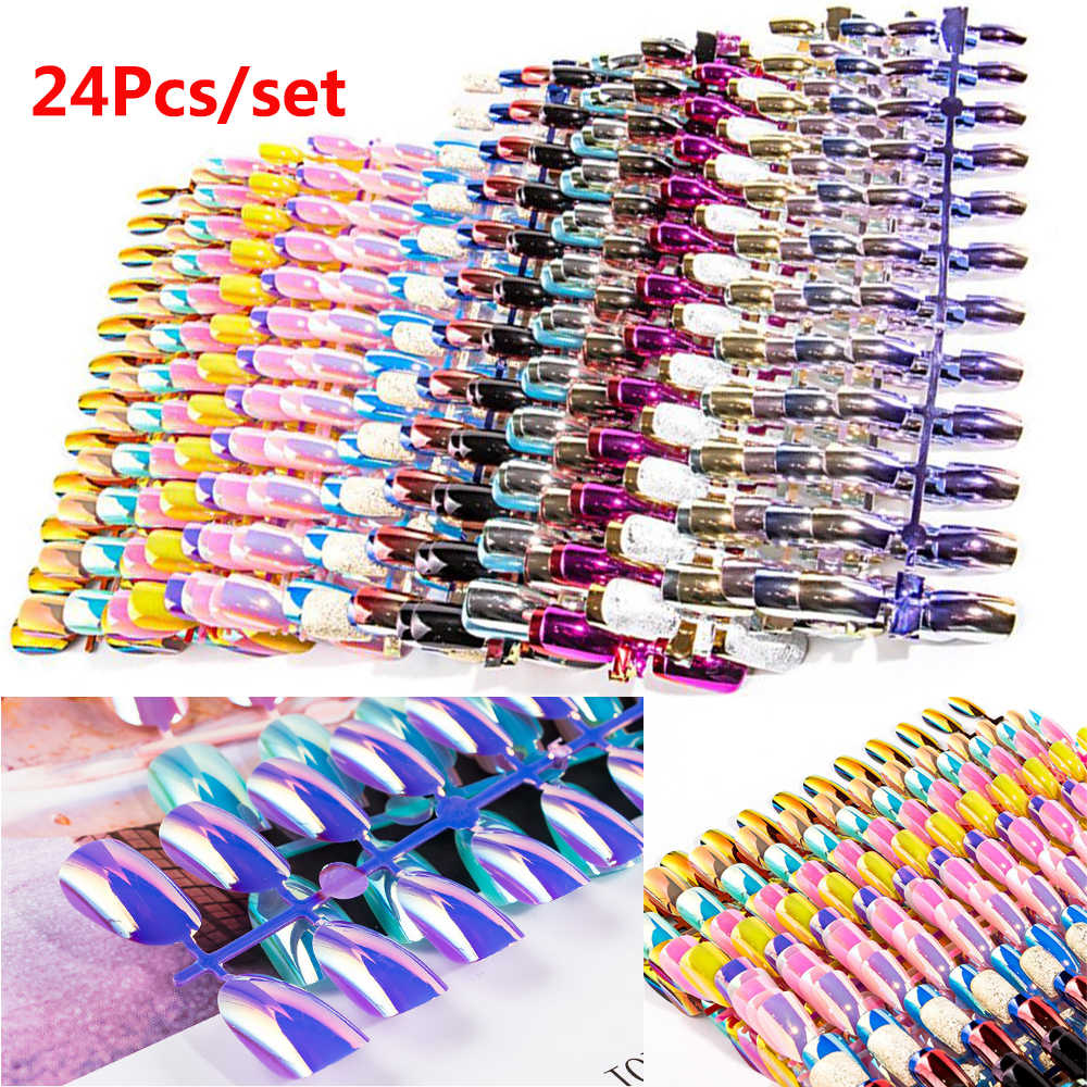 24pcs Short False Nails Full Cover Stiletto Coffin Fake Nails ABS Artificial Tips Nail Art Decorations Women Makeup Nail Extensi