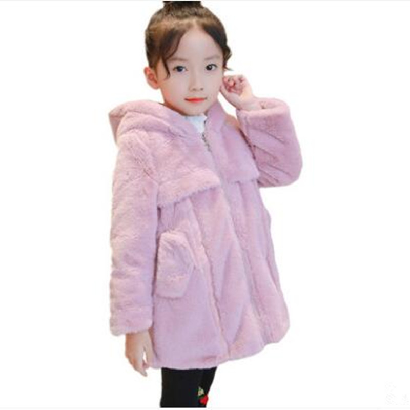 Winter Girl Faux Fur Coat Warm With Thick Cotton-Padded Long Sleeve Print Star Jacket Kid School Winter Cute Outwear Kid Clothes winter jacket women cotton coat female faux suede long lambs wool parka thick winter coat warm jacket fashion outwear coat c3485