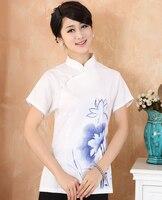 Plus Size 4XL Wit Chinese Stijl vrouwen Zomer Shirt Korte Mouwen 'Katoen Linnen Blouse Print Bloem Slanke Tops 2373