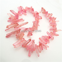 H TB608 Rose Pink Titanium Quartz Point Spike Beads,Crystal Briolettes Beads