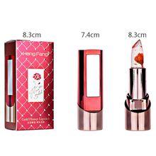 3 Fruit Flavors Gold Flower Lipstick Temperature Changed Lip Balm Moisturizer Lips Makeup Crystal Jelly Lipstick