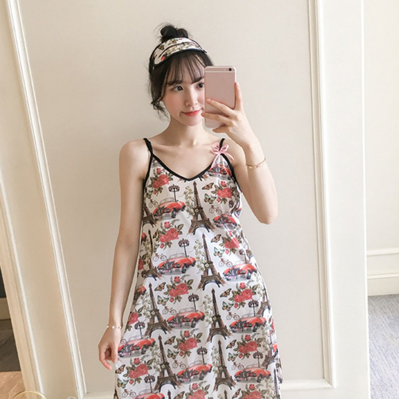 2019 Summer Women Nightgown <font><b>Sexy</b></font> Sling Sleep <font><b>Dress</b></font> Sleeveless Nightdress <font><b>Girls</b></font> Lovely <font><b>Night</b></font> <font><b>Dress</b></font> image