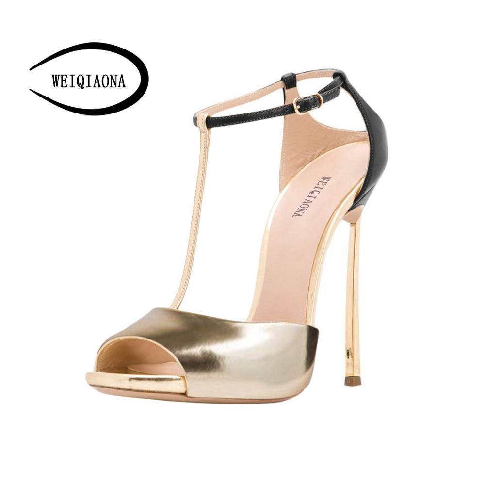 WEIQIAONA big Size 34-43 fashion women shoes New T-strape fish mouth stiletto high heel sandals Gold Sexy open toe Party shoes meotina shoes women sandals summer sexy stiletto high heel sandals open toe ankle strap party pumps lady shoes purple size 34 43