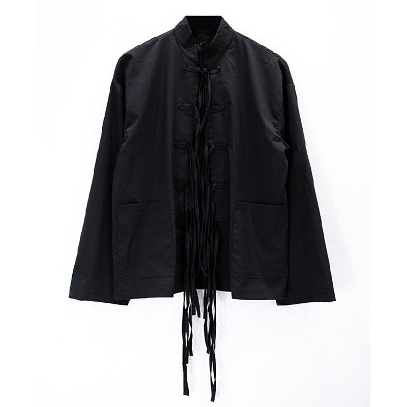 S-6XL! Une robe pour une grande scène sombre conception originale de style chinois bouton chemise pour hommes série diablo vêtements de piste simple