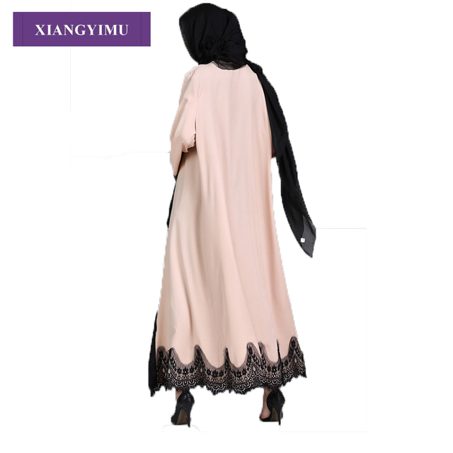 F8809-2 Muslim Lace Splicing Coat Middle East Long Robe Kaftan dubai abayas for women 1