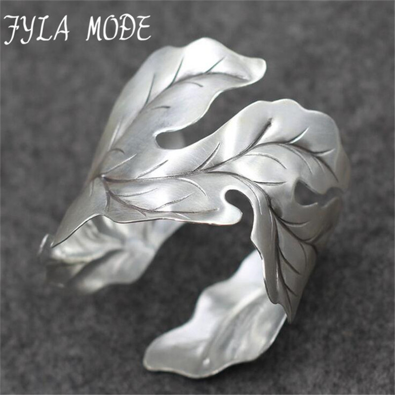 Fyla Mode 42g New Fashion Bangle Wide Cuff Opened Antique Thai Silver Leaf Bracelet Cuff Factory Price For Wholesale PKY324 equte bpew17c6 retro tone green leaf cuff bracelet purple golden white