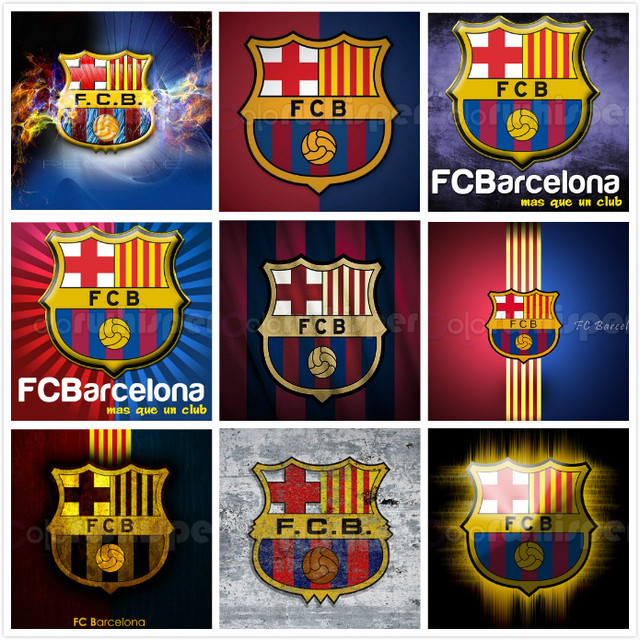 huge selection of 84bfb 83a5e Diamond Painting Full Square Round Football Club Barcelona Logo Soccer  Daimond Painting Embroidery Mosaic Cross Stitch LE01638