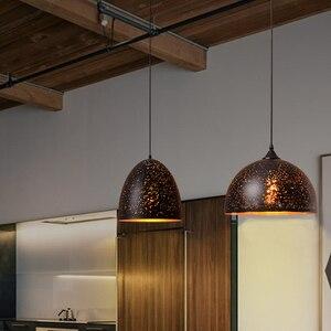 Image 5 - בציר תליון מנורת ברזל לופט נורדי נקבובי רטרו E27 תחריט אהיל בר מסעדת מנורת תעשייתי רוח חלודה תליון מנורה