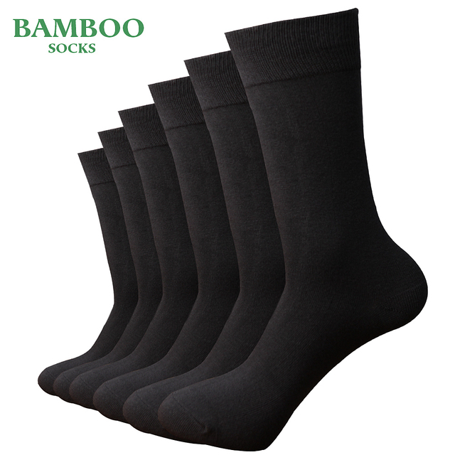 Match Up  Men Bamboo Grey Socks Breathable Anti Bacterial man Business Dress Socks (6 Pairs/Lot)