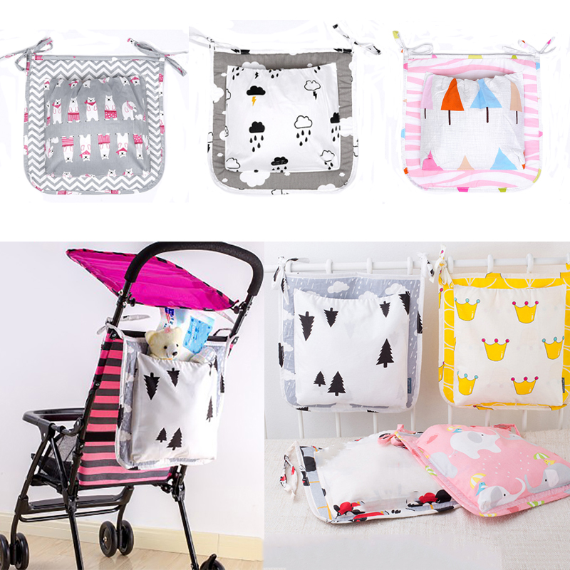 Baby Multifunctional Diaper Bag Cartoon Kid Stroller Travel Pocket Storage Bag Cute Crib Bedside Cotton Mummy Nappy Hanging Bags