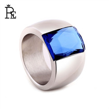 RE New Design Ring for Women Men Titanium 316L Stainless Steel Big Square Main Stone Crystal Trendy Rings