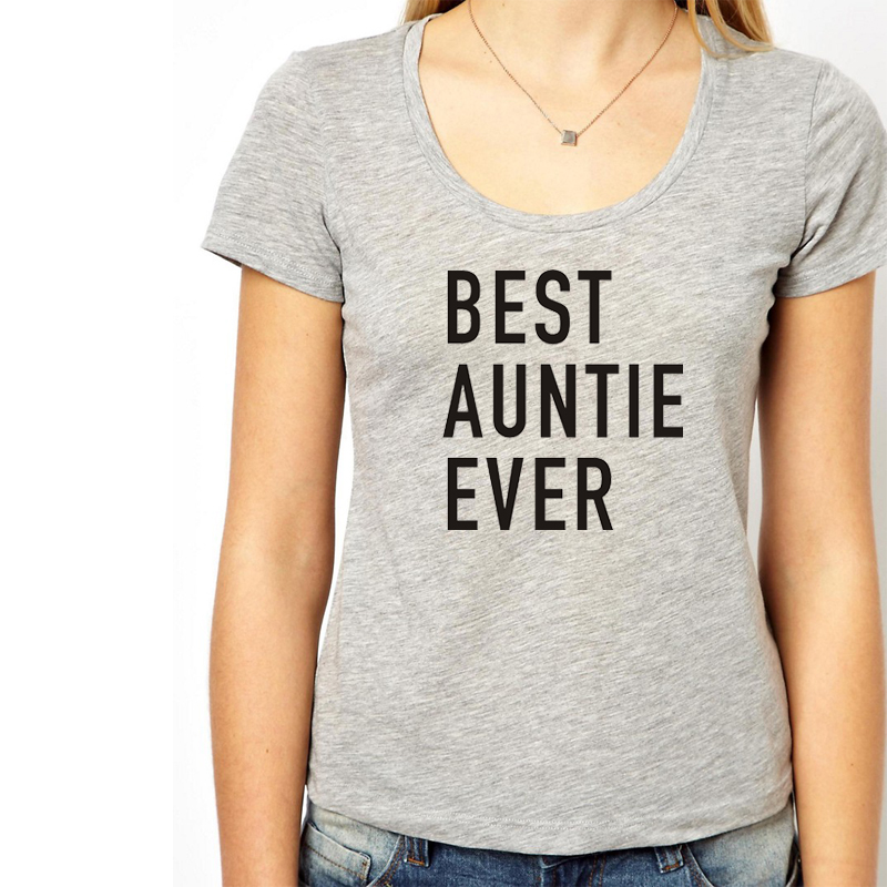 New Fashion Knitting Summer WT0007 Auntie Best Auntie Ever Womens T Shirt Funny Short Sleeve Unisex T shirt Plus Size