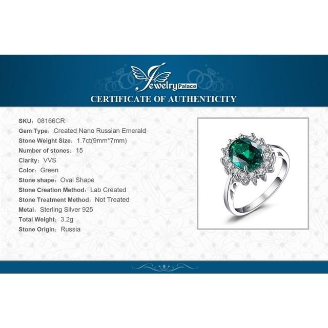 JewelryPalace Verde Smeraldo 925 Sterling Silver Moda Principessa Diana Fidanzamento Anello di Cerimonia Nuziale Per Le Donne Solitaire