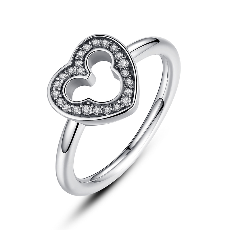 ZMZY Genuine 100 925 Sterling Silver Mickey Ring pave Clear CZ for Women Engagement Original Fine