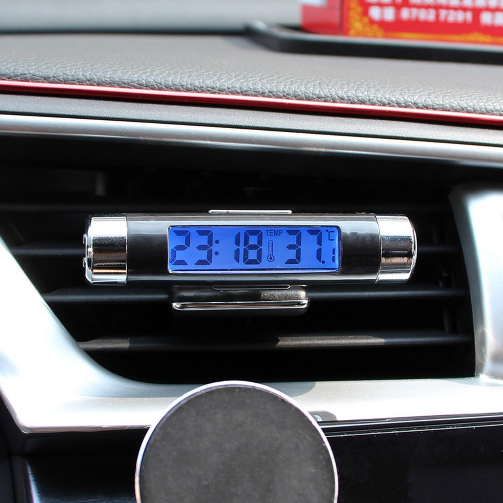 Image 4 - 2 in 1 Car Digital LCD Clock & Temperature Display Blue Light Night Vision Air Vent Outlet Clip On With Clip Auto Accessories-in Clocks from Automobiles & Motorcycles