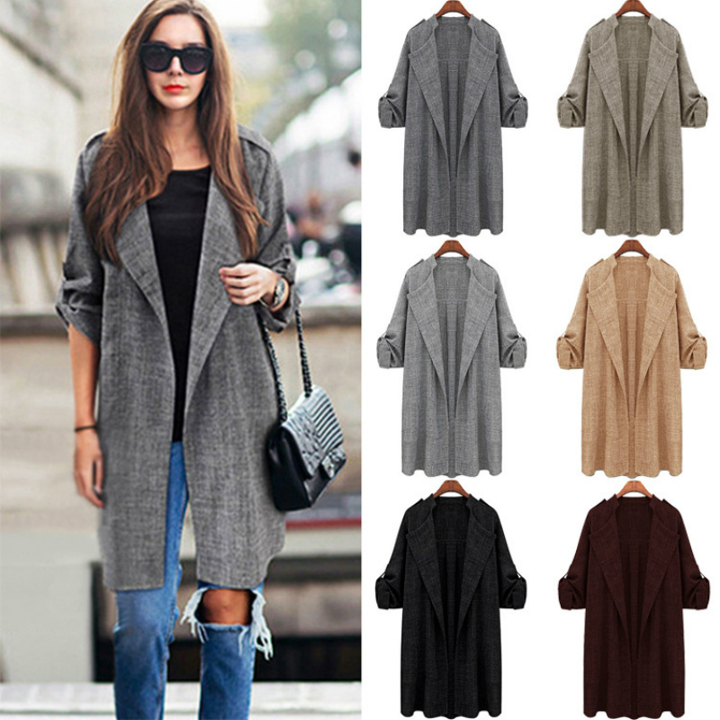 1 Pcs Fashion Spring Autumn Winter Women Clothes Loose Slim Long Sleeved Coat Long Windbreaker Open Stitch   Trench   Big Size