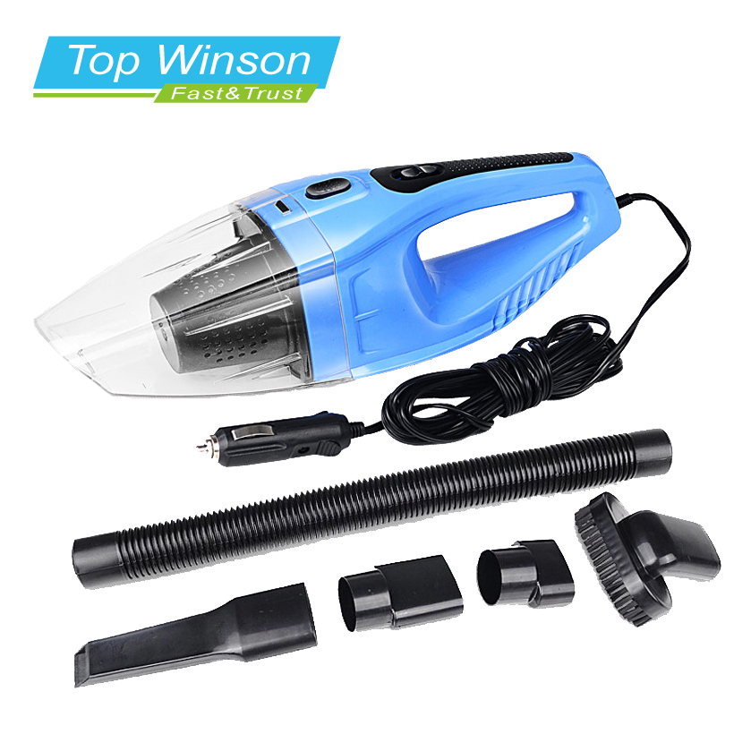 120W Portable Car Vacuum Cleaner Wet And Dry Dual Use Auto Cigarette Lighter Hepa Filter 12V Blue Colour