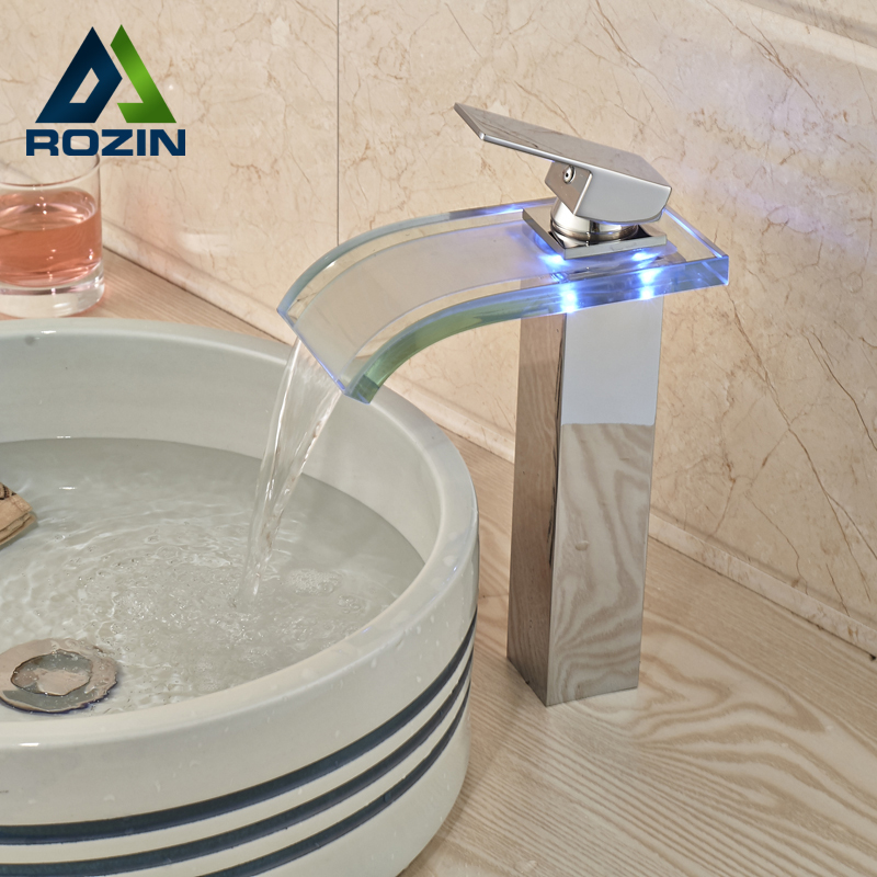 Polished Chrome Glass Waterfall Spput Basin Vanity Sink Faucet Single Lever Hole Led Light Mixer