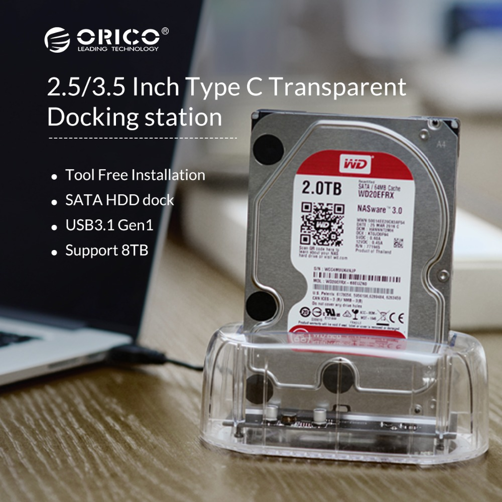 ORICO 2.5/3.5 Inch Type c HDD Docking Station Transparent HDD Case External Hard Drive Case Sata to usb 3.1 Storage Dock Station