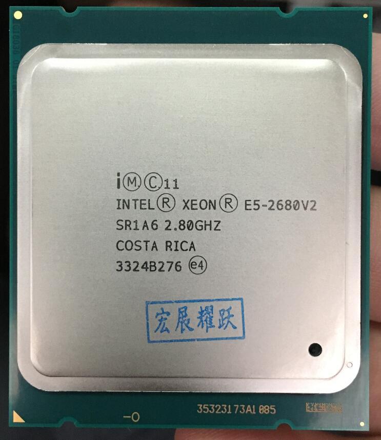 Процессор Intel Xeon E5 2680 V2 Процессор 2,8 LGA 2011 SR1A6 десять ядер процессора сервера e5-2680 V2 E5-2680V2