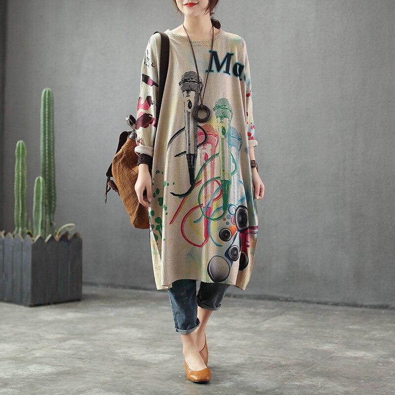 Женское трикотажное платье ретро, винтажное свободное Повседневное платье с круглым вырезом и принтом, весна 2019