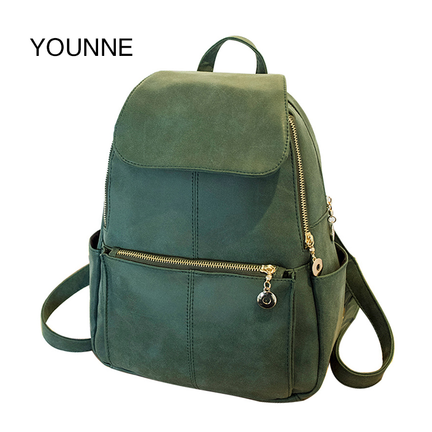 YOUNNE Vintage Backpack Women High Quality PU Leather Backpacks Designer Travel Bags for Ladies Teenager Girls School Bags 2018 wellvo women solid vintage backpacks for teenager girls black multifunctional backpack new designed high quality rucksack xa84wb