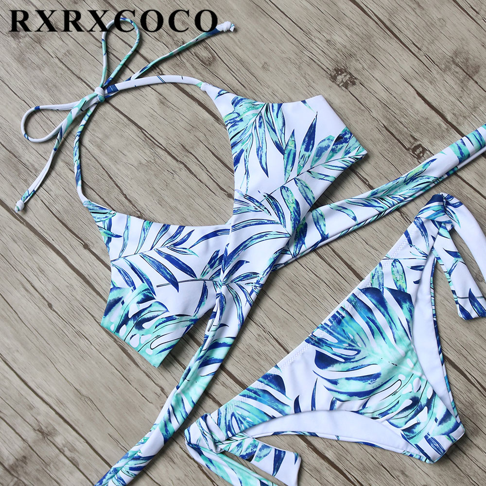 RXRXCOCO 2017 Bikini Set Women Printed Swimwear Female Sexy Push Up Bikini Halter Bandage Swimsuit Low Waist Summer Bathing Suit sexy black halter low waist wrap bikini for women