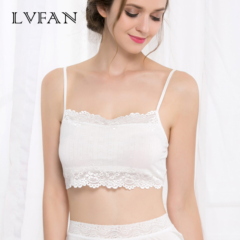 Double Silk Women Tube Tops Breathable Female Sling Lace Real Silk Bra Large Size Knitted Without Cushion Adjustable Strap Bra