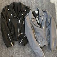 Jaqueta Feminina распродажа полиэстер повседневное куртка с заклепкой бомбер 2019 Весенняя Новинка для женщин кожа простой темперамент овечьей