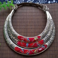 hot sell new Embroidery multi layer national wind collar personality silver embroidered elegant collarbone Necklace