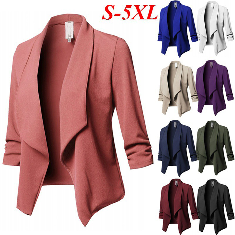 S-5XL Plus Size Blazers Women Solid Color Suit Long Sleeve Lapel Casual Small Suit Slim Yards Office Lady Blazer Workwear Jacket