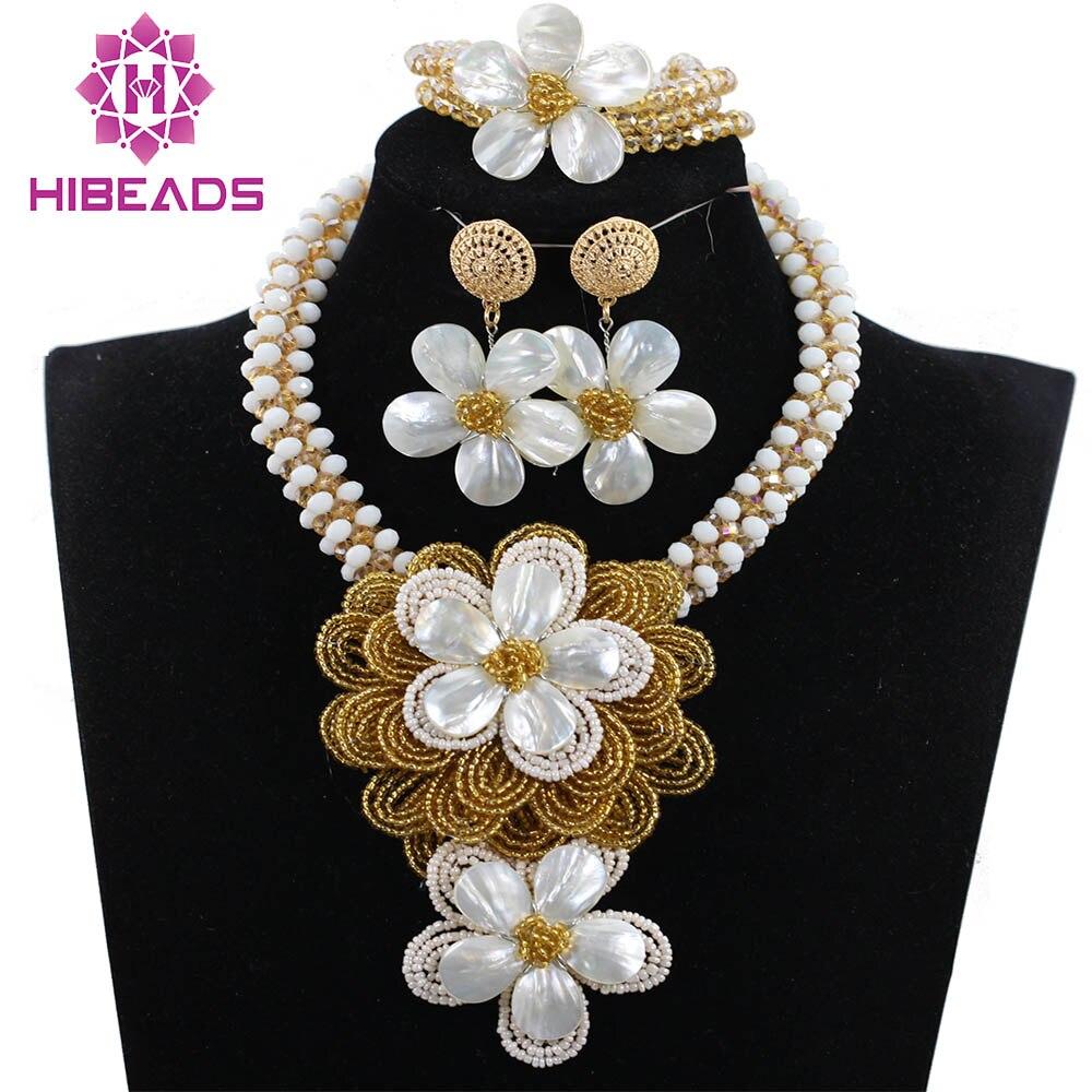 Aэлегантный женский вечерние кулон в виде цветка ожерелье набор из белого золота Цветочные кластеры цепи Серьги Браслет набор ANJ331