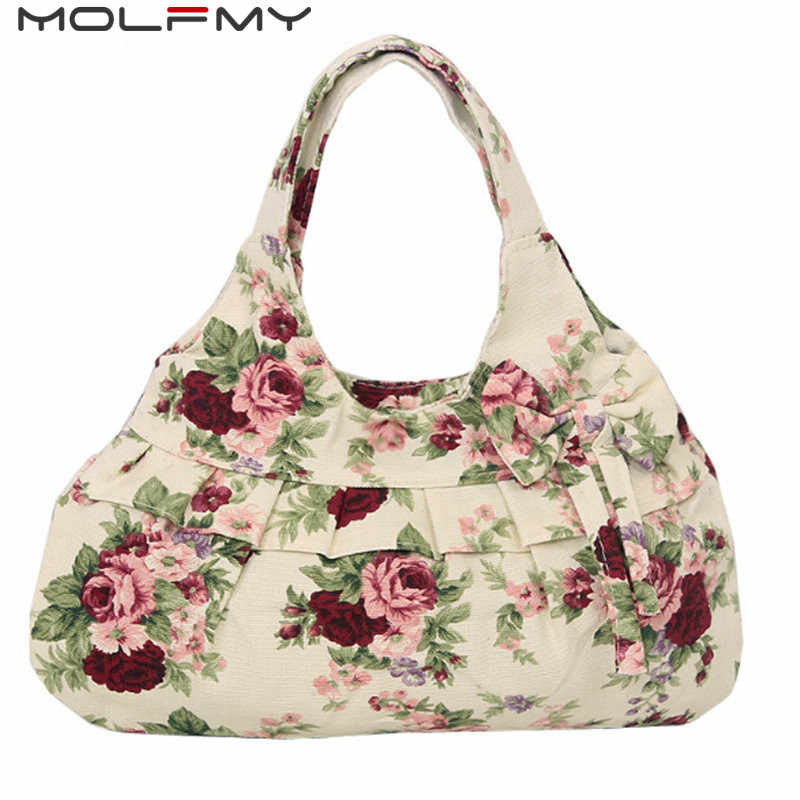 Bow Canvas women handbags floral printing women causual tote bags bolsas all-match portable vintage shoulder Hobo shopping bags
