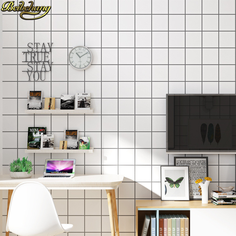 beibehang papel de parede 3d Modern square grid wallpaper for living room wall paper for walls 3 d home decor White background non woven bubble butterfly wallpaper design modern pastoral flock 3d circle wall paper for living room background walls 10m roll