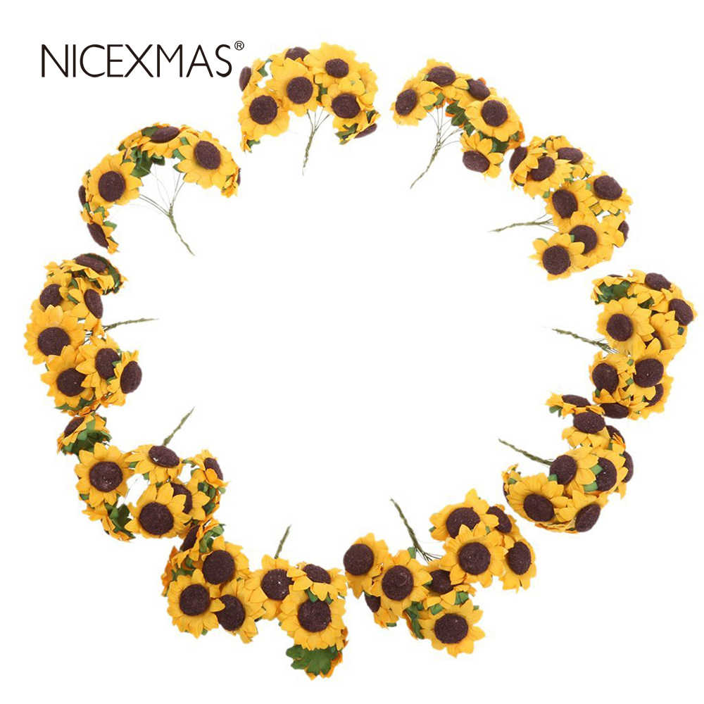 NICEXMAS Chic Mini  Artificial Paper Sunflower Home Party Decorations Props Wedding Card Decor Craft DIY