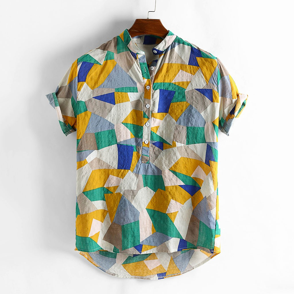 Ethnic Style Printed Shirt by soAR9opeoF Turn-Down Collar Short Sleeve Mens Summer Casual Shirt Top White XXXL